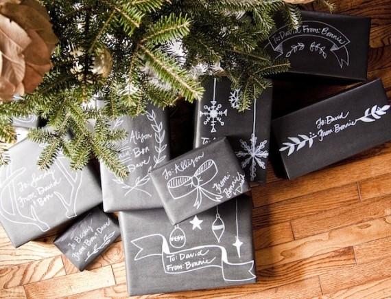 Emballage maison, papier style ardoise et dessin - #IdeesCadeaux #DerniereMinute #DIY - www.lavietoutsimplement.com