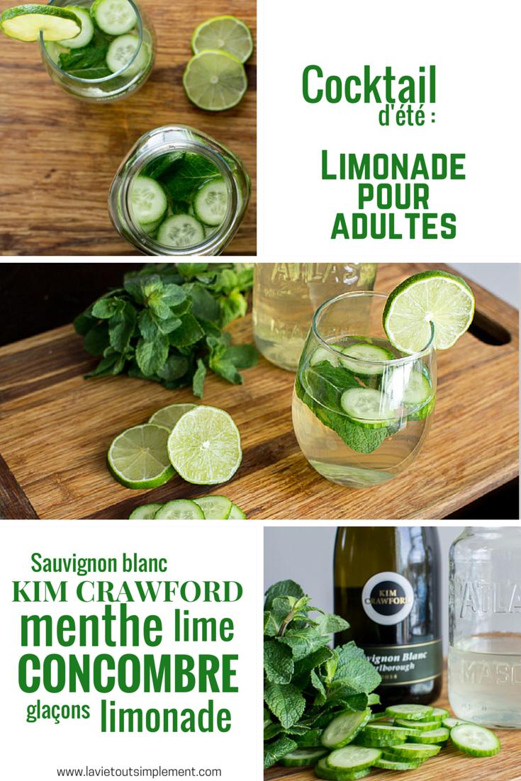 Cocktail au vin blanc : un cocktail rafraîchissant pour l'été avec menthe, concombre et limonde | Recette sur lavietoutsimplement.com