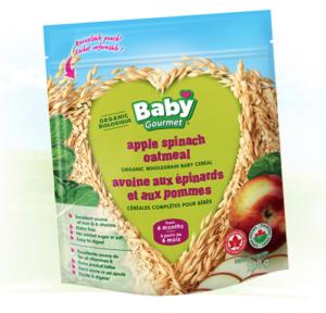 Baby Gourmet - Nouvelle saveur de céréales pour bébés pommes épinards. Produit biologique